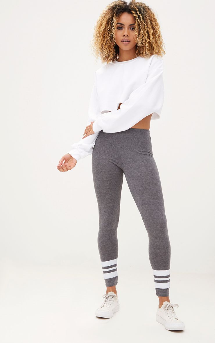 Charcoal Track Stripe Cuff Leggings