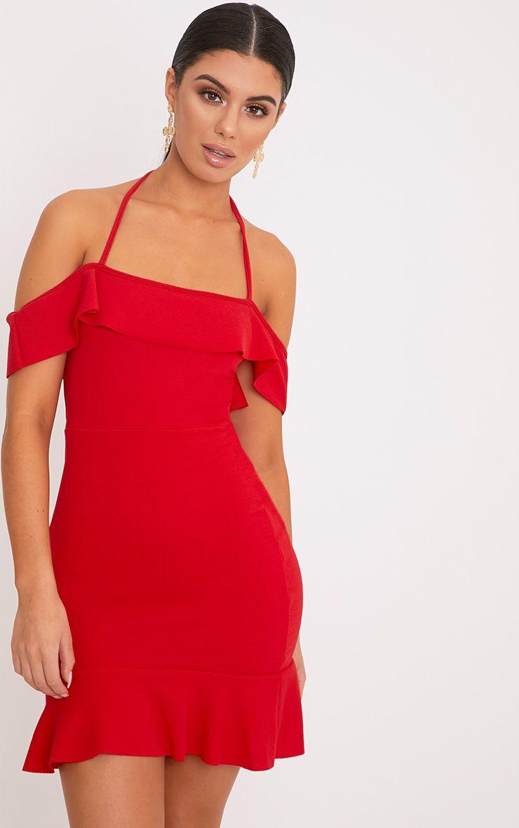 Jemena Red Frill Bardot Drop Hem Mini Dress