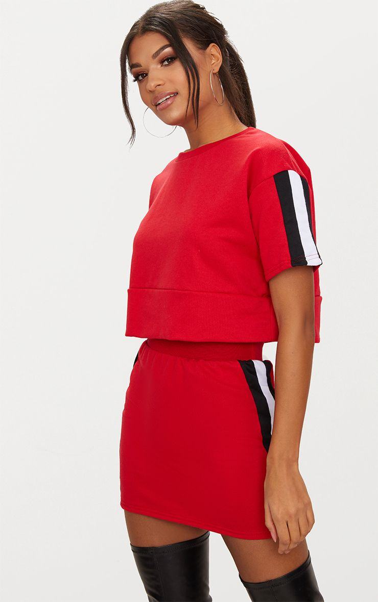 Red Contrast Panel Oversized Short Sleeve Sweater
