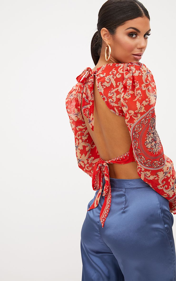 Red Baroque Print Puff Sleeve Tie Back Shirt
