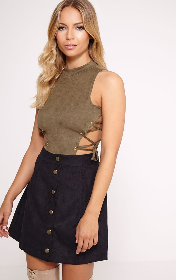 Celese Khaki Faux Suede Lace Side Bodysuit 1