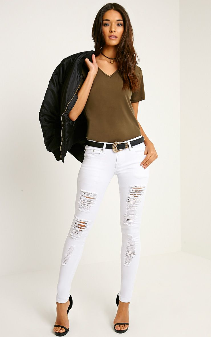 Brynn White Distressed Jean 1