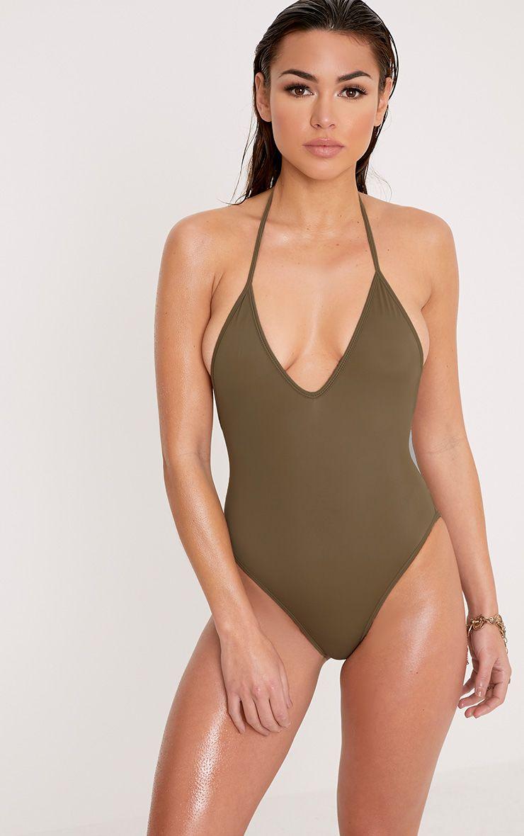 Catherine Khaki Tie Back Plunge Swimsuit 1