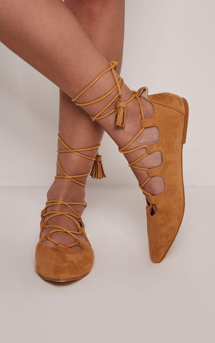Fraya Tan Tassel Tie Flats 1