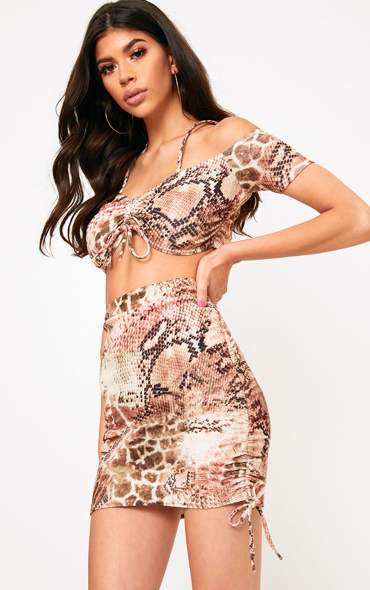 Brown Snake Print Crepe Ruched Bardot Crop Top