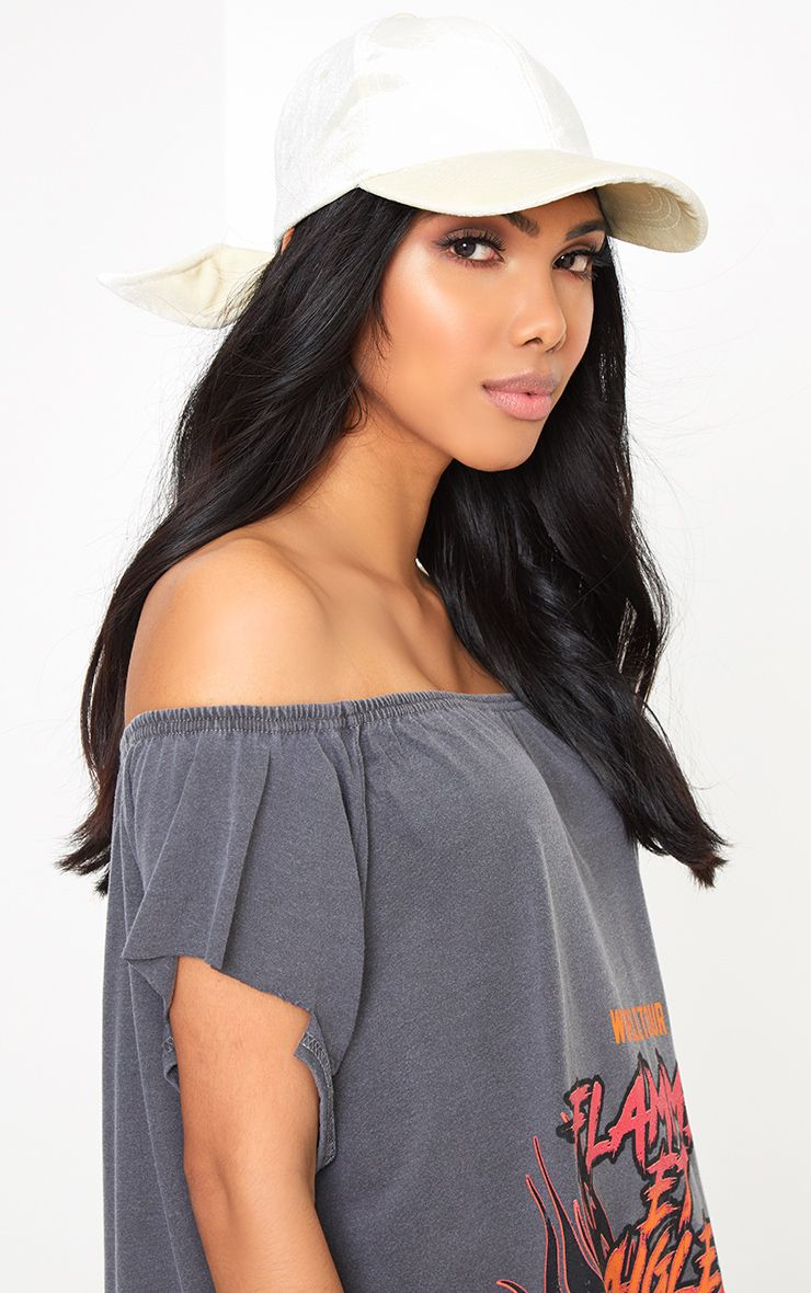 Cream Velvet Bow Back Cap