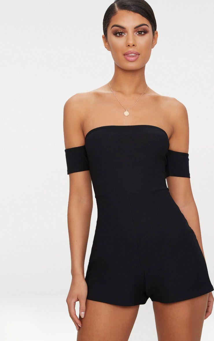 Black Crepe Short Sleeve Bardot Playsuit