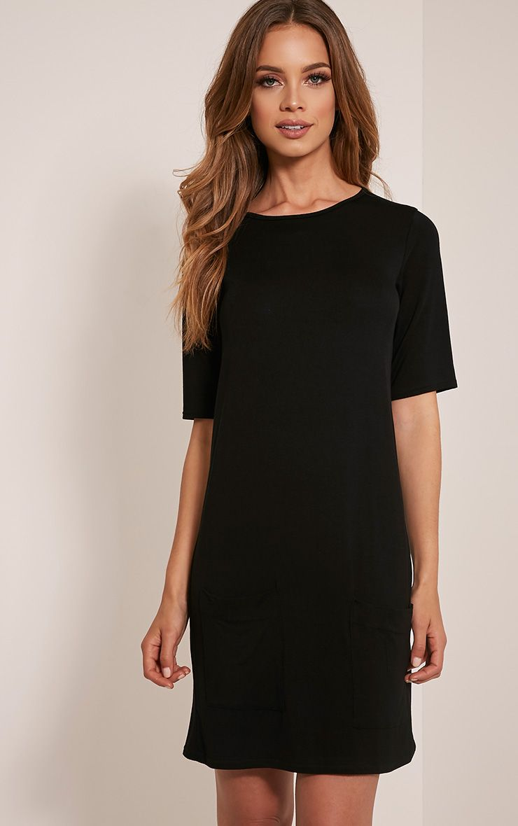 Basic Black Pocket Detail T Shirt Dress