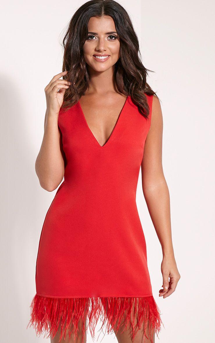 Ettie Red Oversized Feather Trim Blazer Dress 1