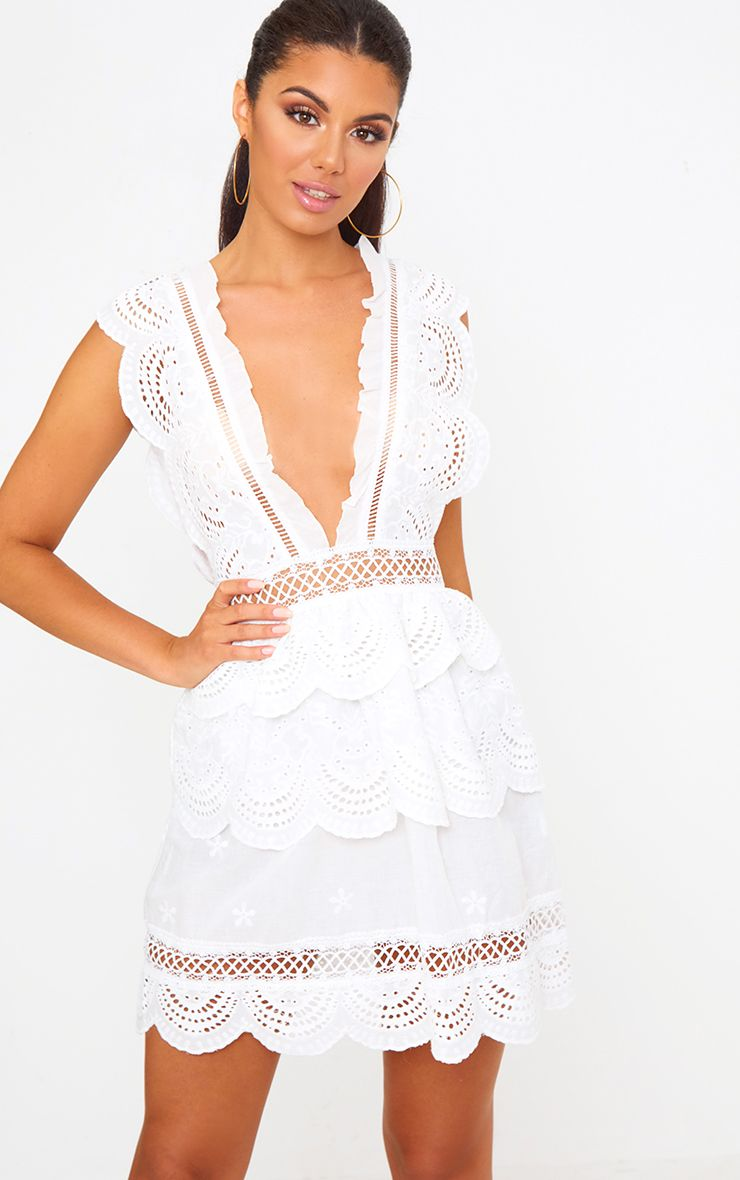 White Crochet Lace Plunge Swing Dress