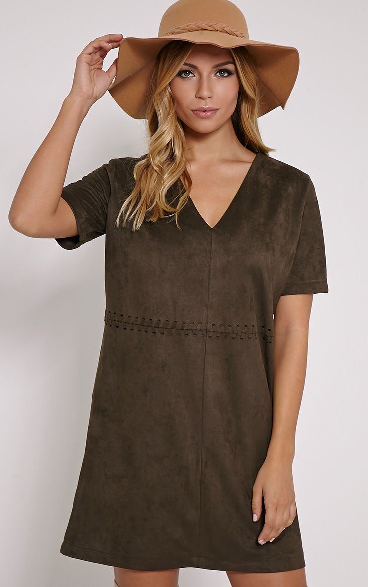 Sina Khaki Stitch Detail Faux Suede Shift Dress 1