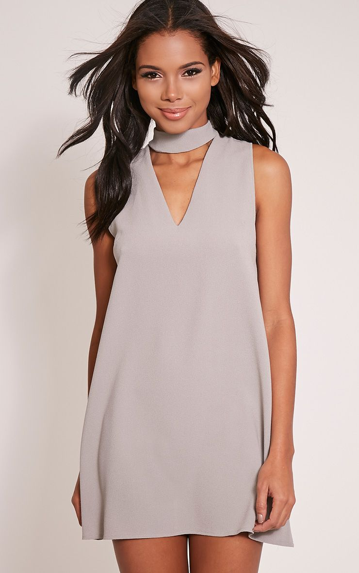 Cinder Grey Choker Detail Loose Fit Dress