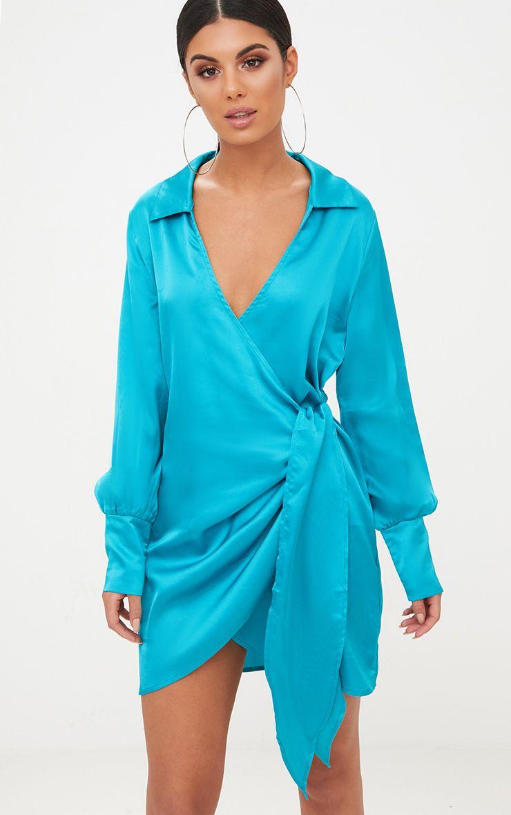 Teal Satin Deep Cuff Wrap Front Shift Dress