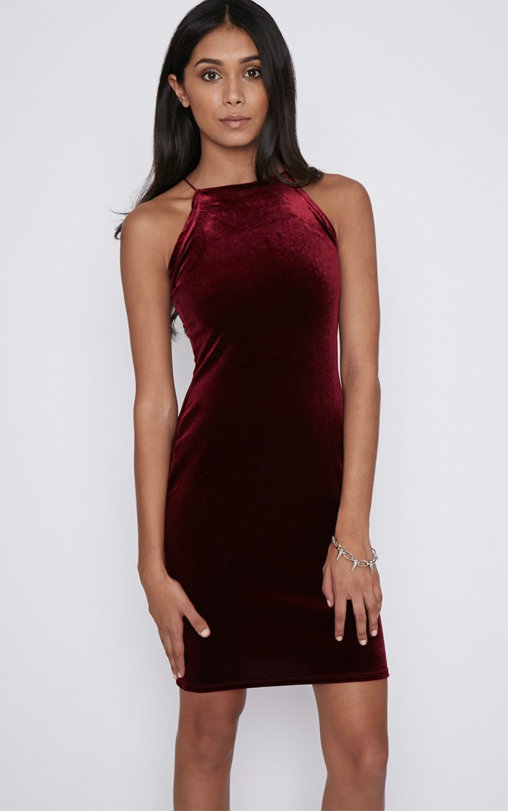 Elektra Wine Velvet Mini Dress 1
