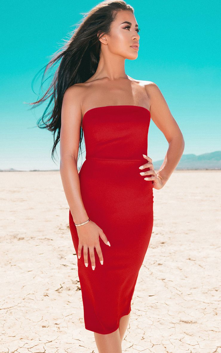 Red Bandeau Split Back Midi Dress