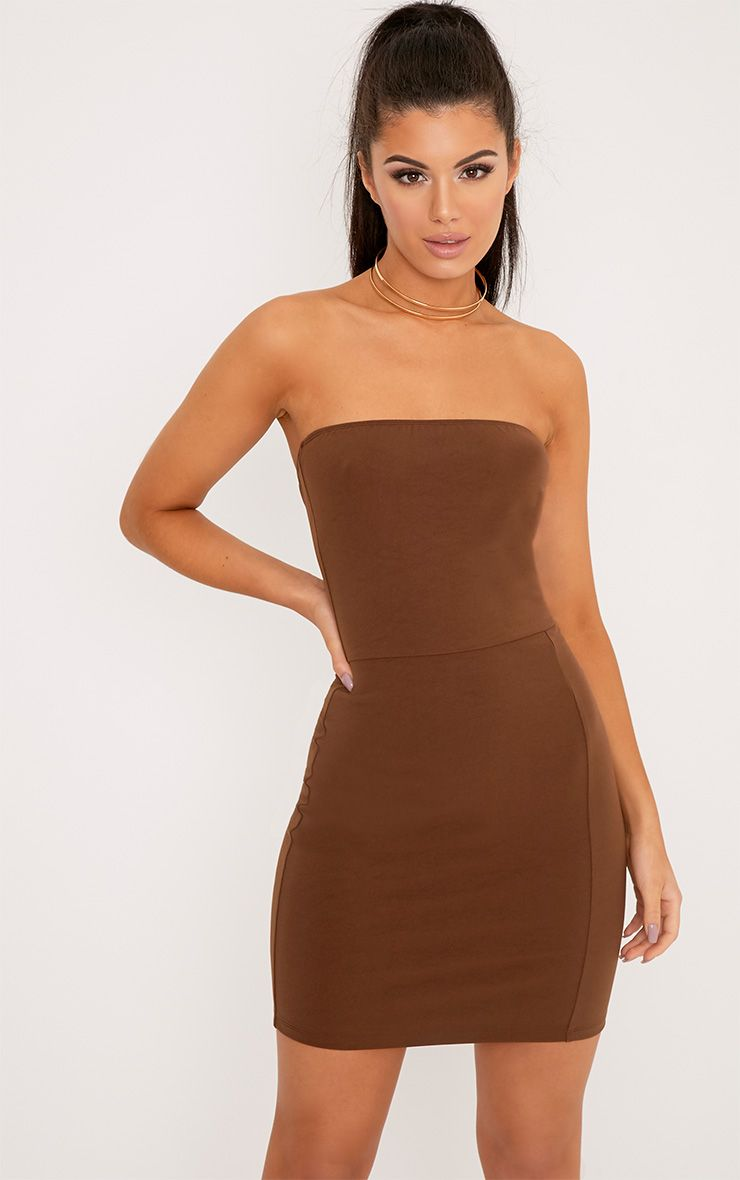 Elia Brown Bandeau Bodycon Dress