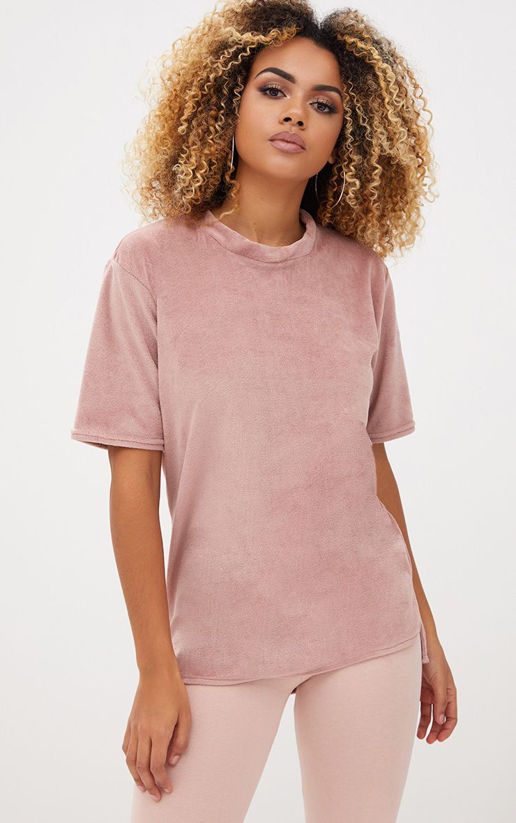Nude Velour Oversized T Shirt