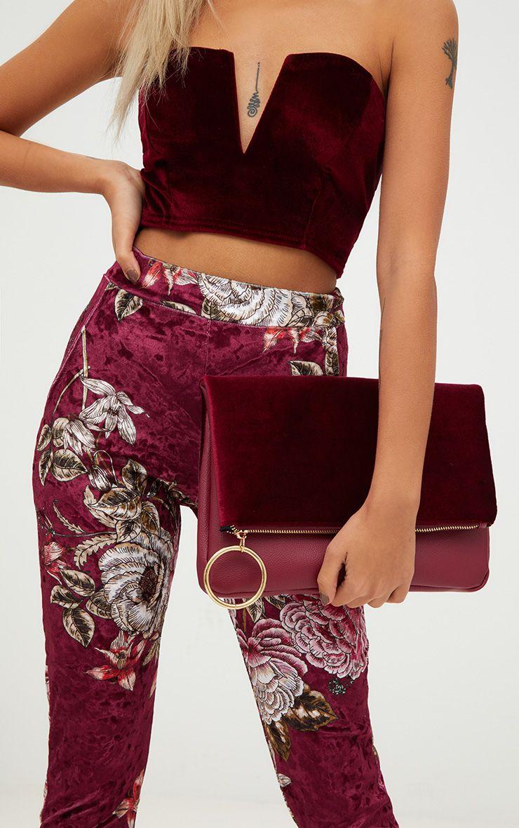 Burgundy Velvet Fold over Clutch Bag 1
