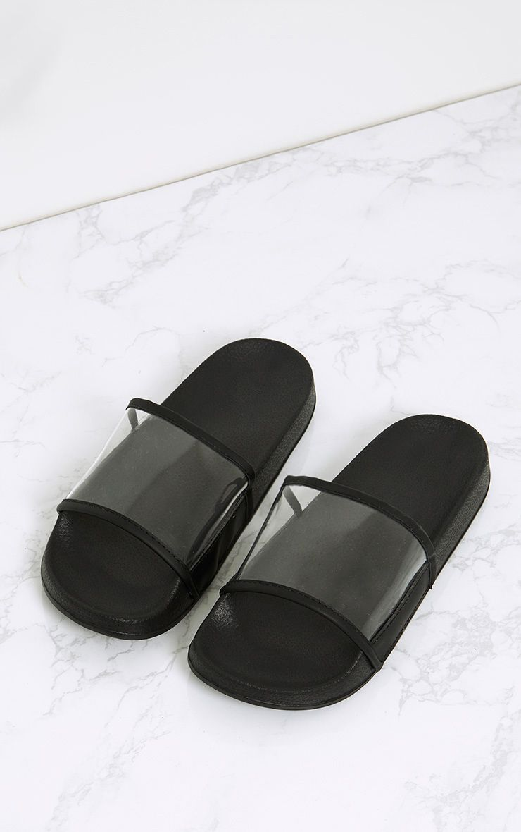 Black Clear Strap Sliders