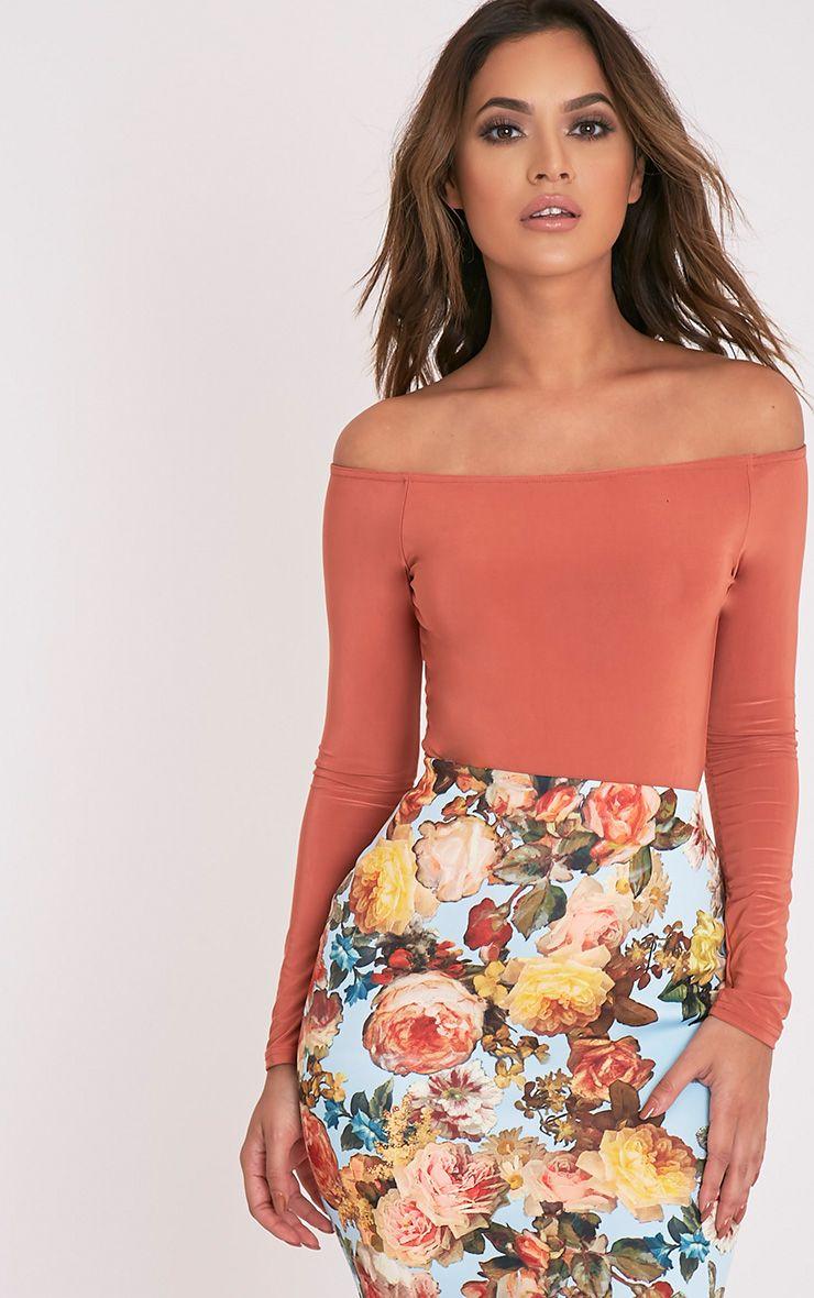 Rossalyn Deep Peach Slinky Bardot Bodysuit 1