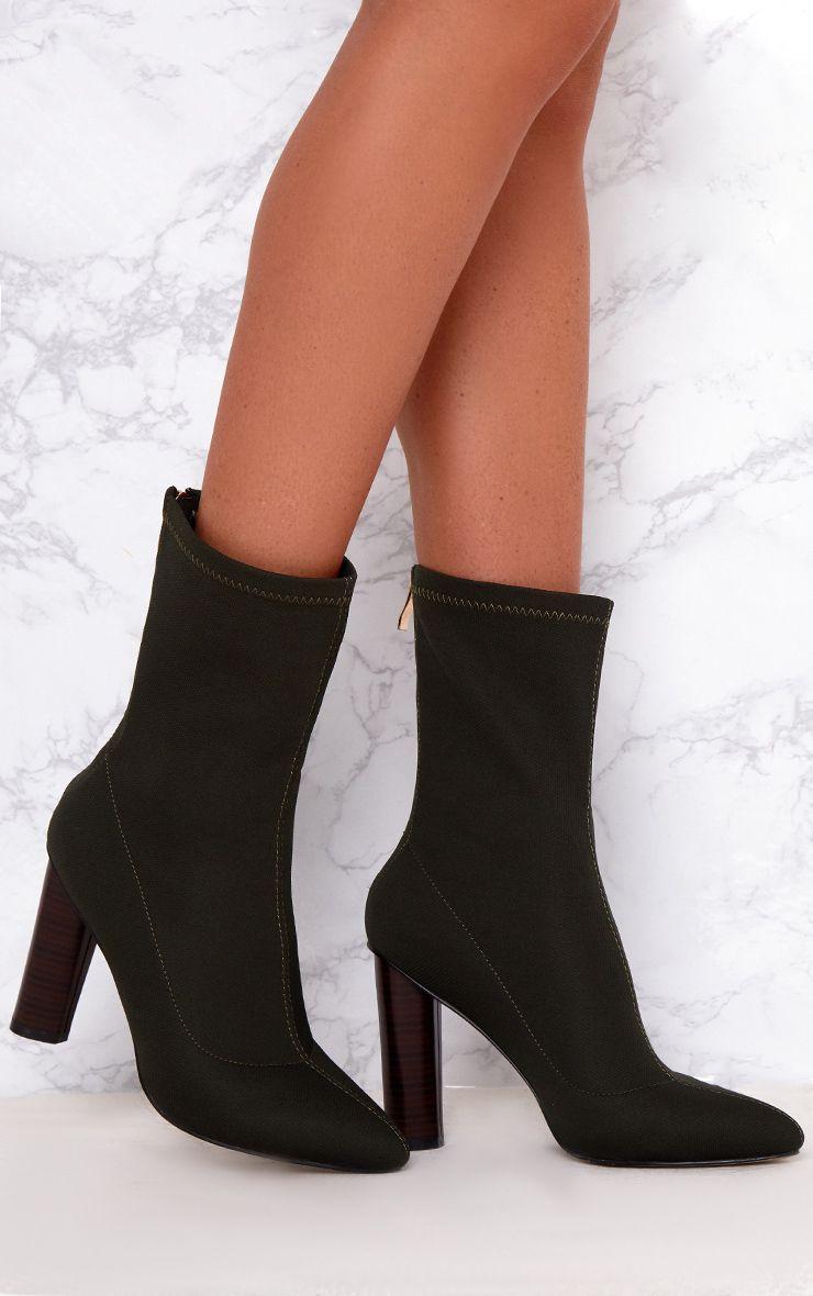 Khaki Woven Sock Heeled Boots