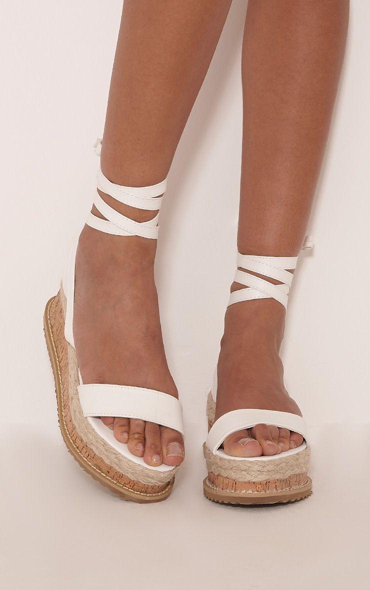 Jacey White Espadrille Flatform Sandals