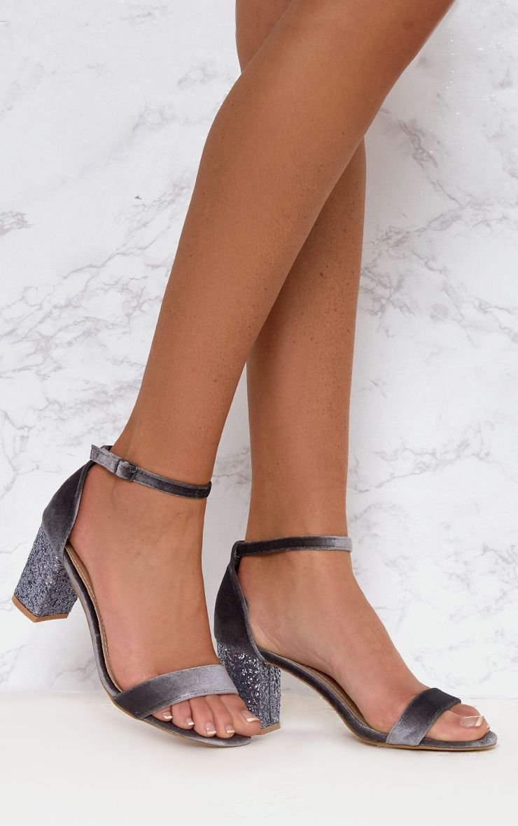Grey Glitter Low Heeled Sandals