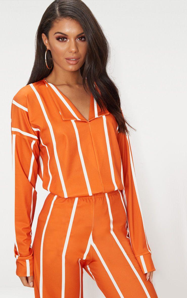 Orange Stripe Jersey Collar Detail Top