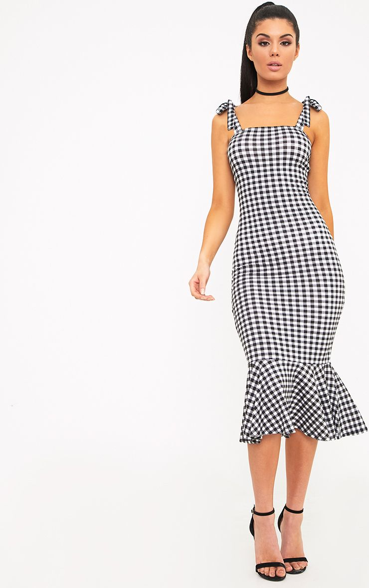Caelyn Black Gingham Shoulder Tie Frill Hem Dress
