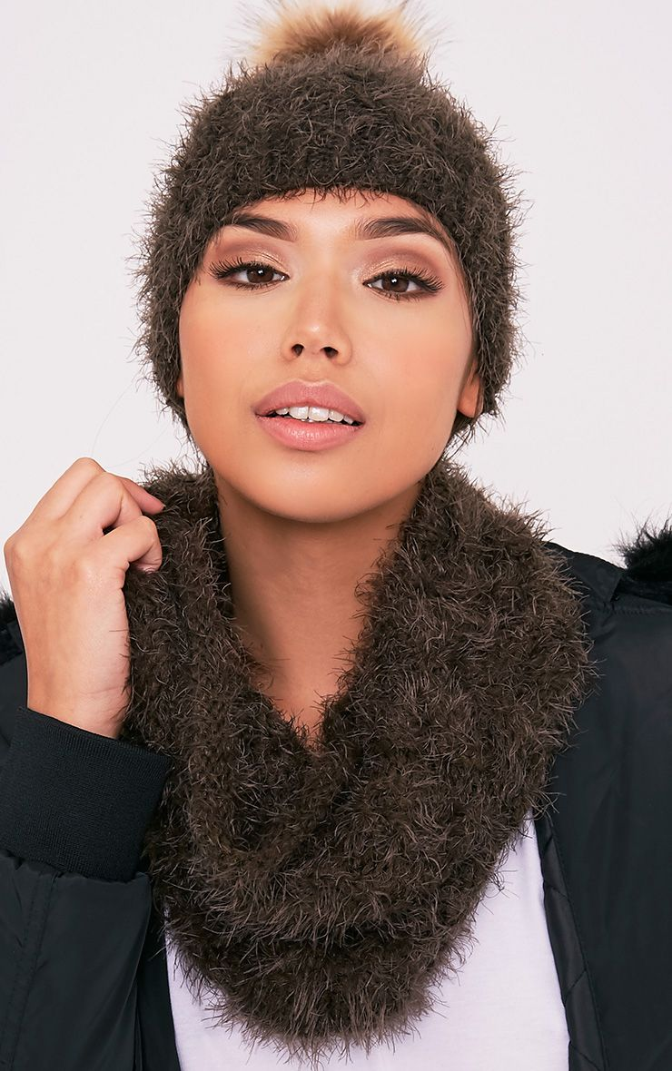 Two Pack Khaki Bobble Hat Snood