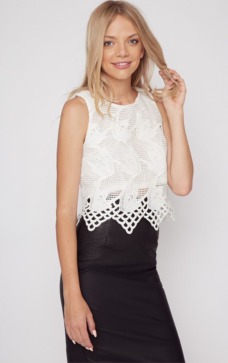Carla White Lace Crop Top  1