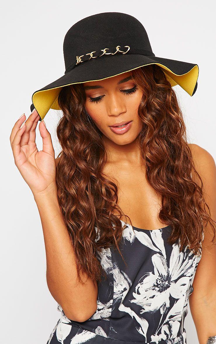 Paloma Black & Yellow Chain Detail Floppy Hat Black