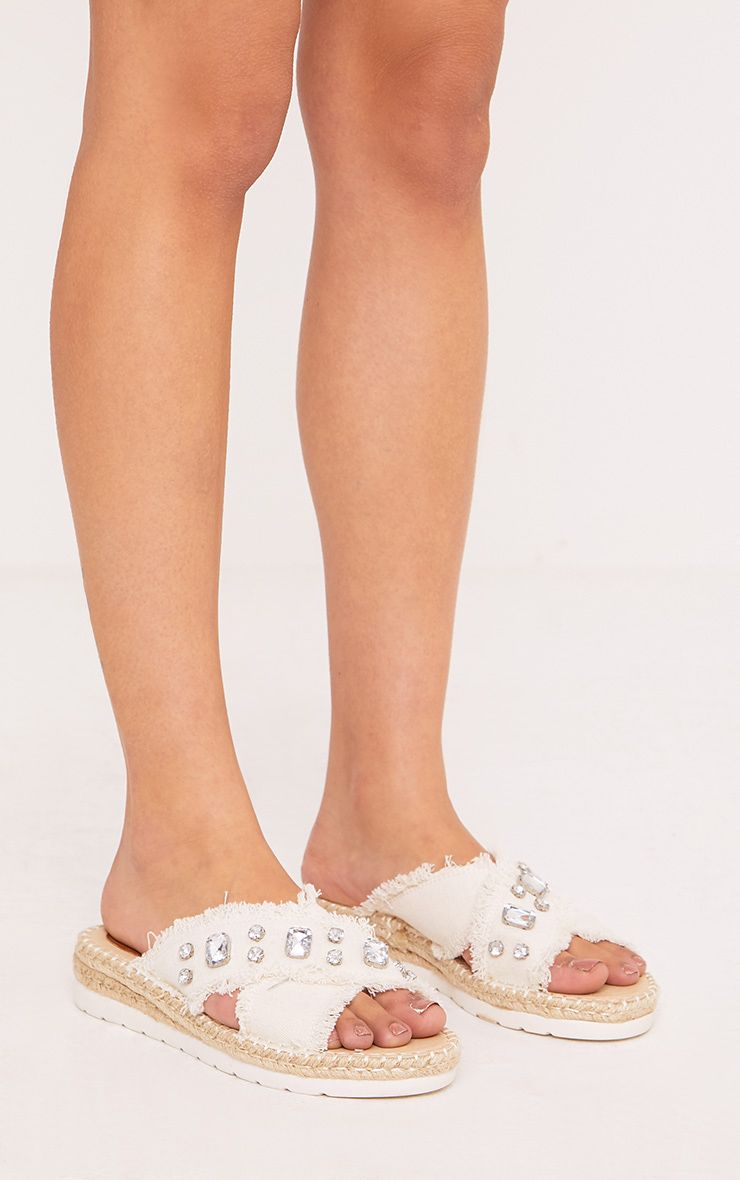 Bette White Jewelled Denim Sliders