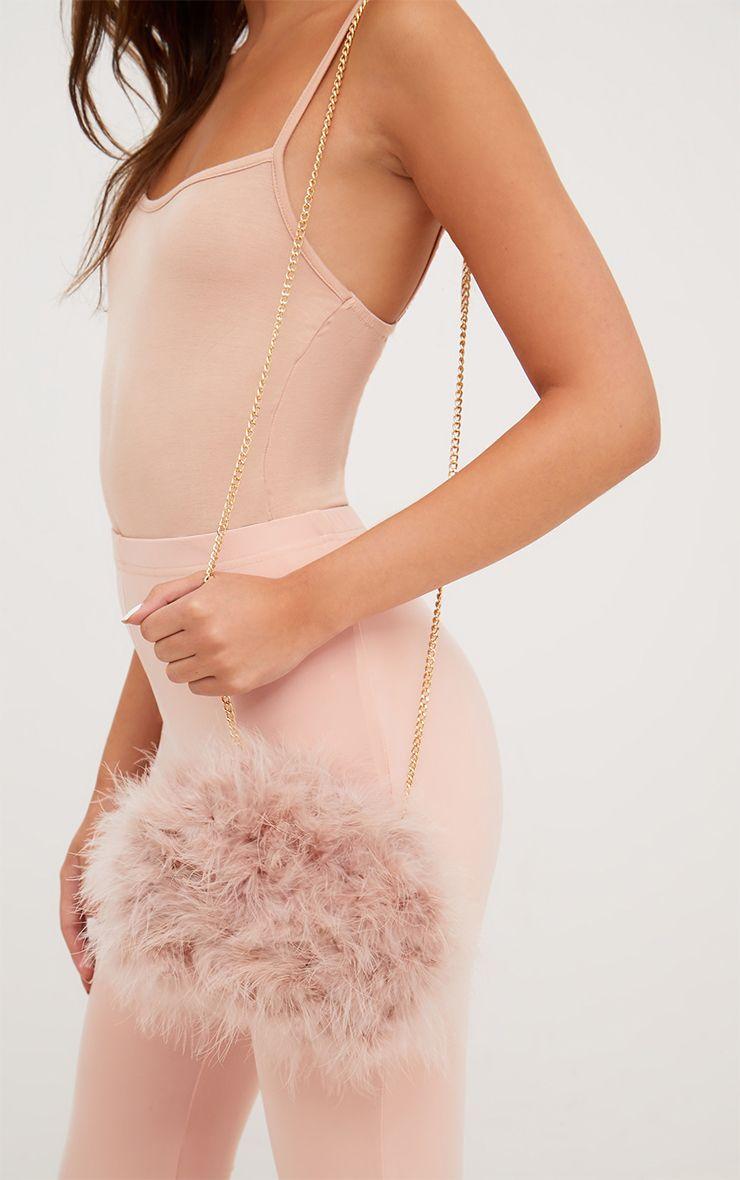 Nude Marabou Feather Clutch Bag 1