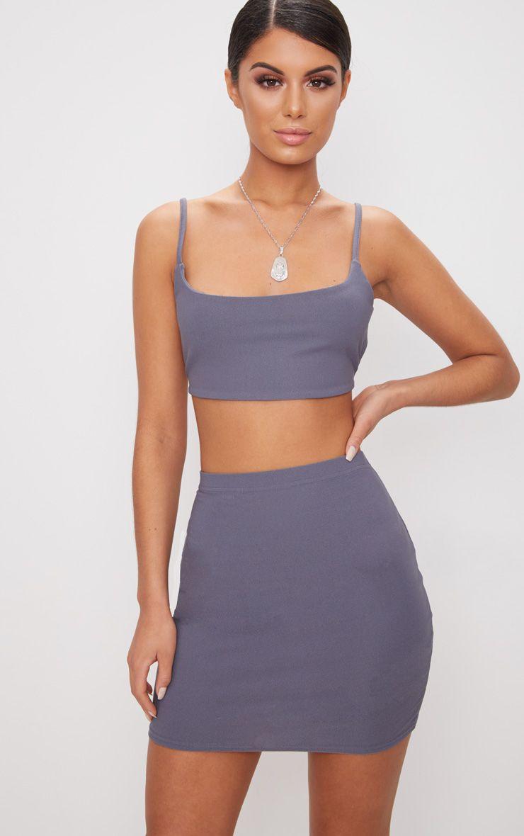 Dusky Blue Mini Skirt