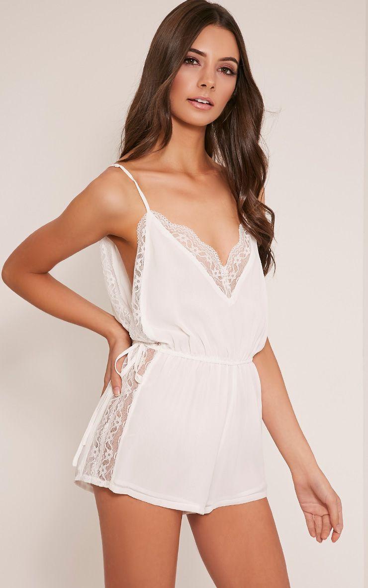 Shiela White Lace Insert Playsuit