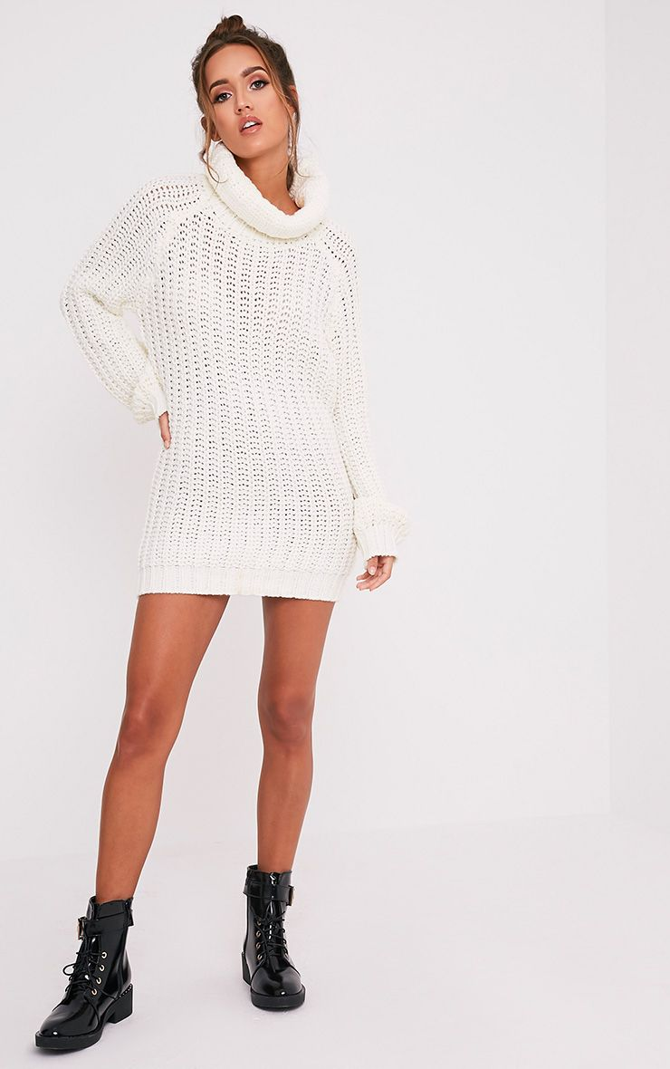 Shainel Cream Roll Neck Chunky Knit Jumper 5