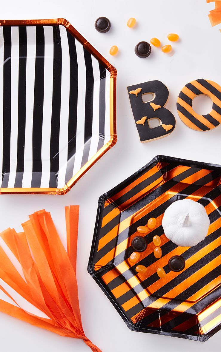 Halloween Striped Paper Plates