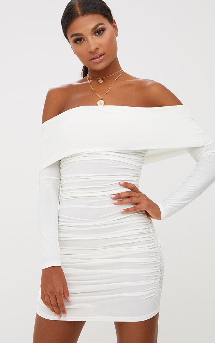 White Long Sleeve Bardot Ruched Bodycon Dress 1