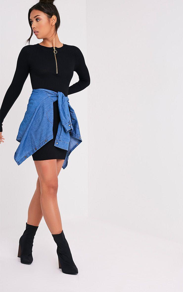 Maegan robe mini noire côtelée à fermeture sur le devant 5