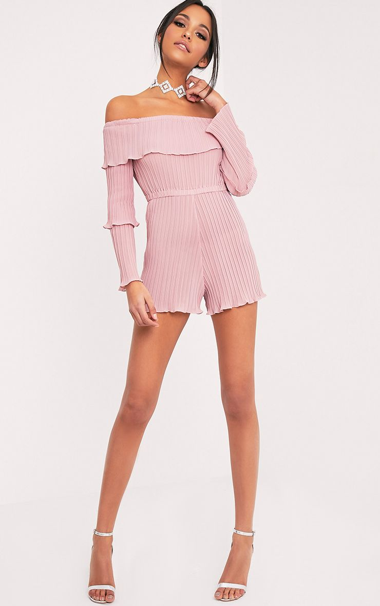 Gabriella Pink Pleated Frill Playsuit 1