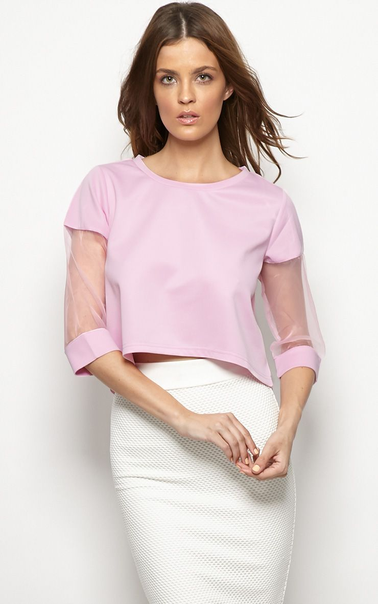 Rory Lilac Mesh Cropped Sweater  1