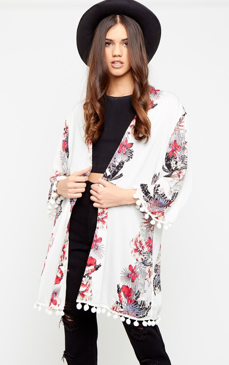 Kali White Floral Kimono with Pom Pom Trim  1