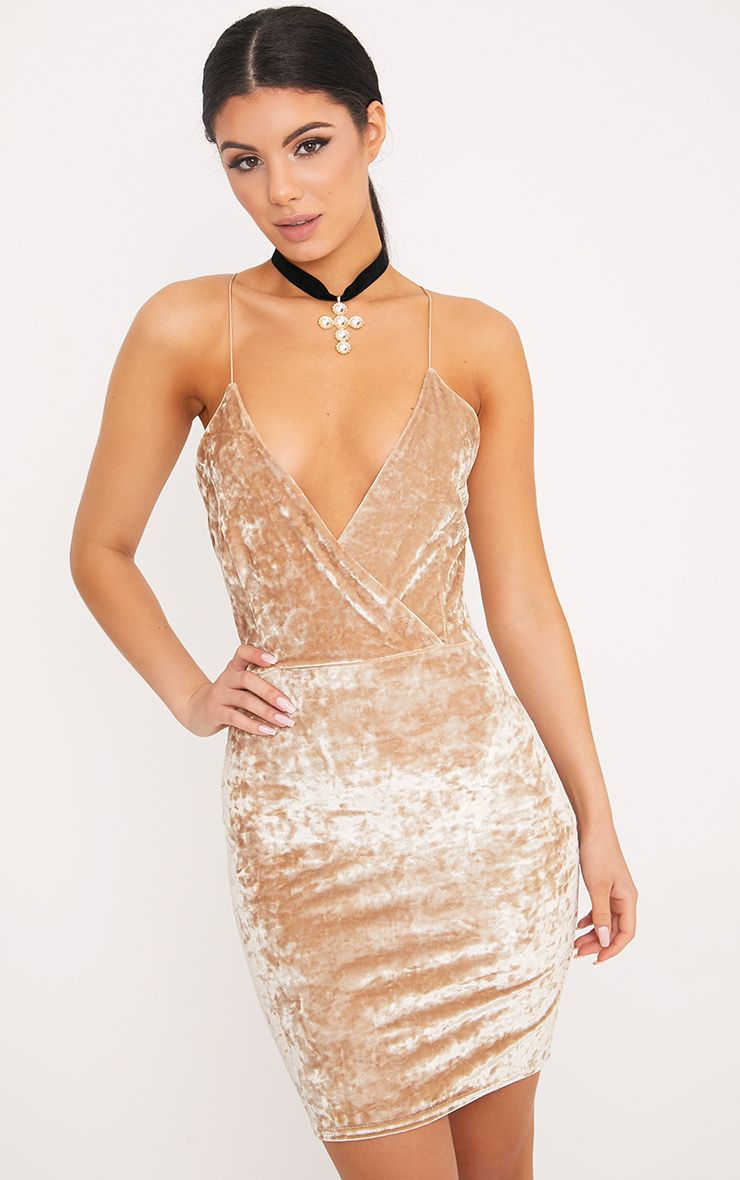 Jo Strappy Champagne Crushed Velvet Bodycon Dress 1