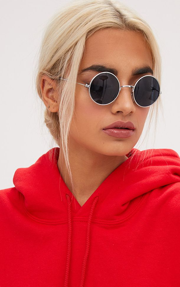 Black Retro Style Round Sunglasses