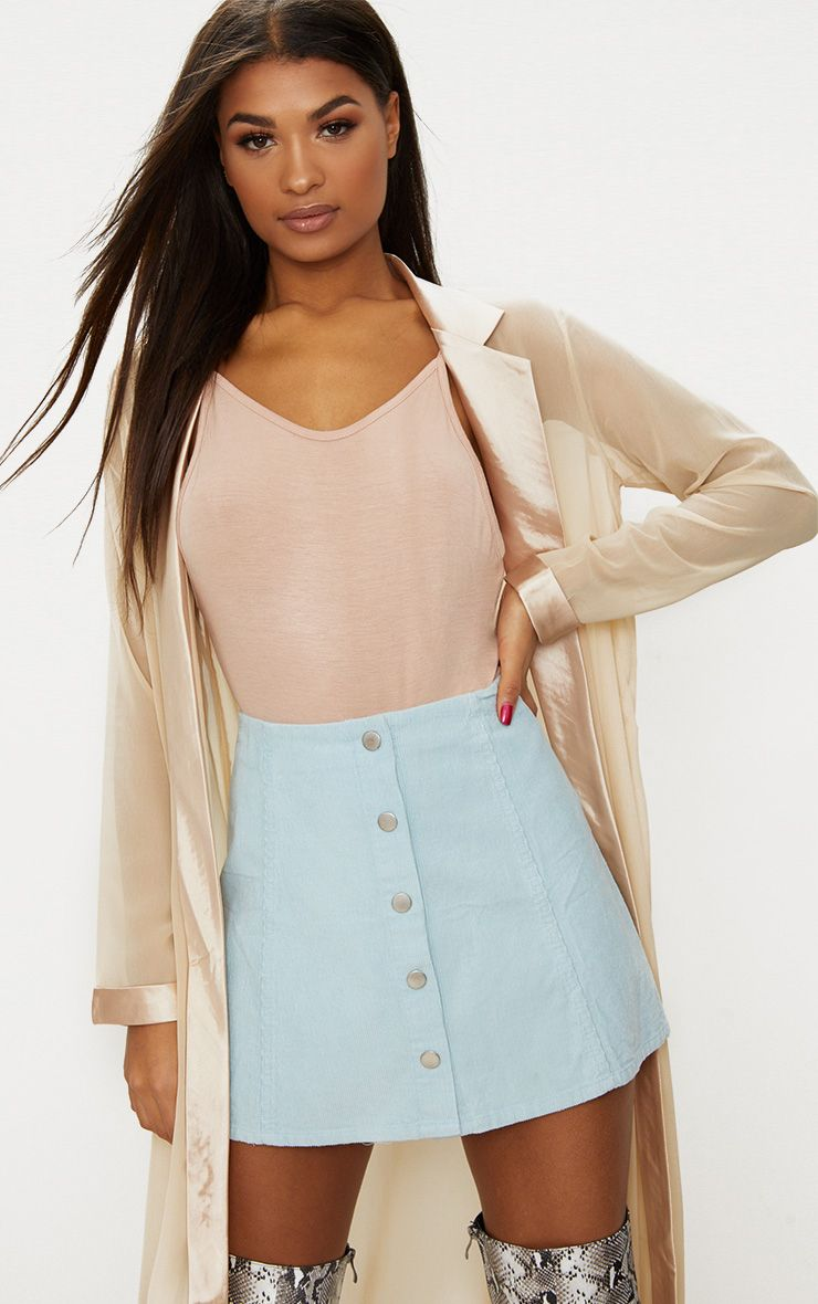 Baby Blue A-Line Cord Mini Skirt