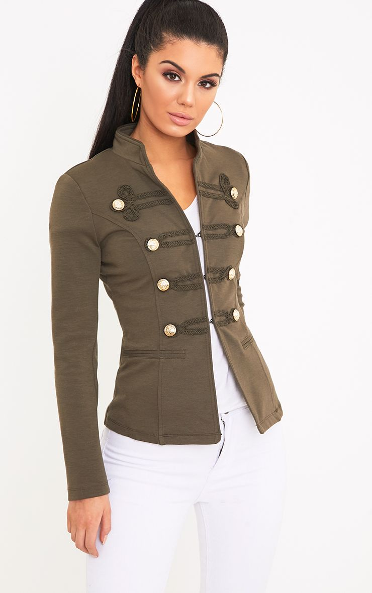 Karaa Khaki Cropped Military Detail Jacket