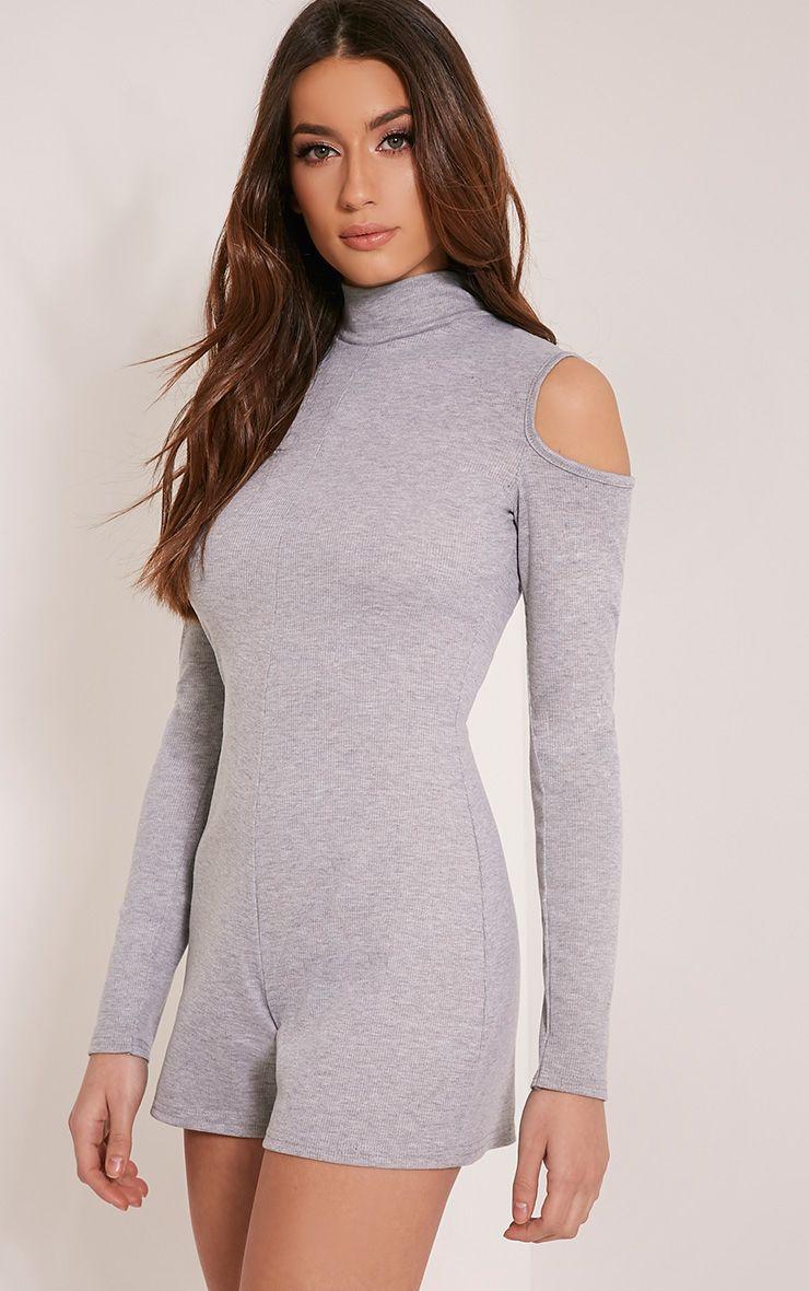 Tamsin Grey Cold Shoulder Ribbed Playsuit