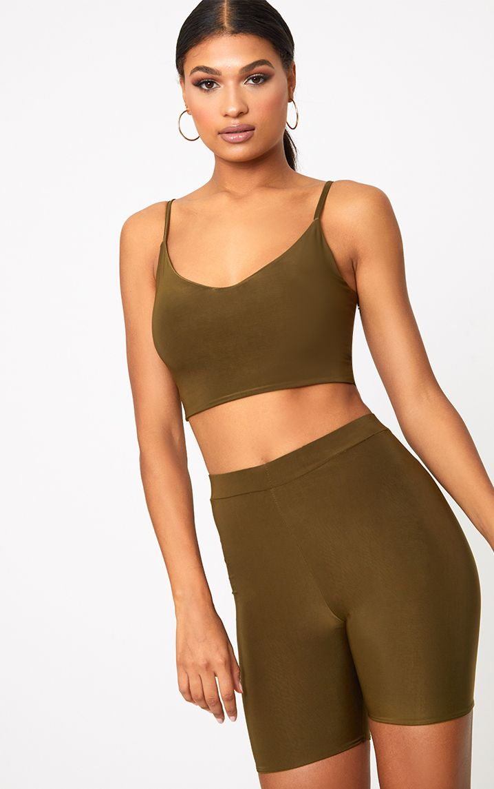 Khaki Slinky High Waisted Cycle Shorts