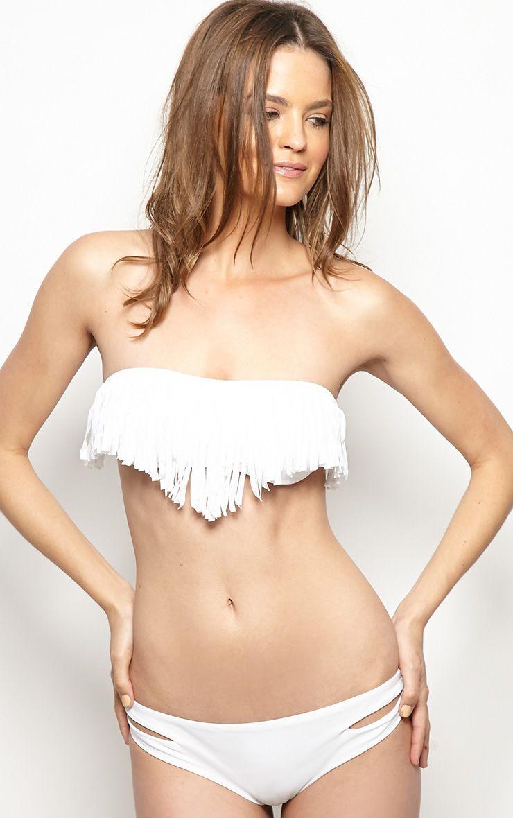 Mikayla White Tassle Bikini Top 1